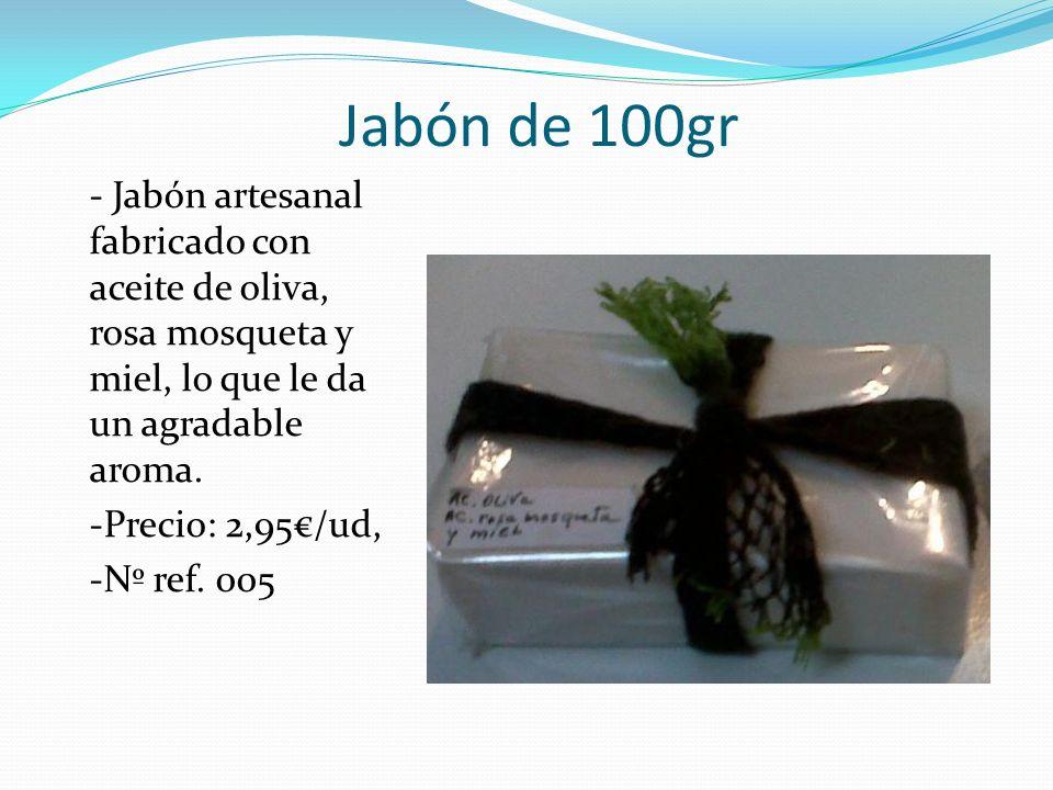 Jabón de 100gr - Jabón artesanal fabricado con aceite de oliva, rosa mosqueta y miel, lo que le da un agradable aroma. -Precio: 2,95/ud, -Nº ref. 005