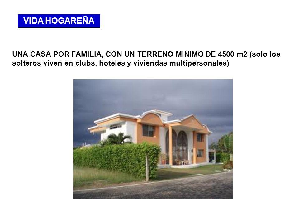 VIDA HOGAREÑA UNA CASA POR FAMILIA, CON UN TERRENO MINIMO DE 4500 m2 (solo los solteros viven en clubs, hoteles y viviendas multipersonales)