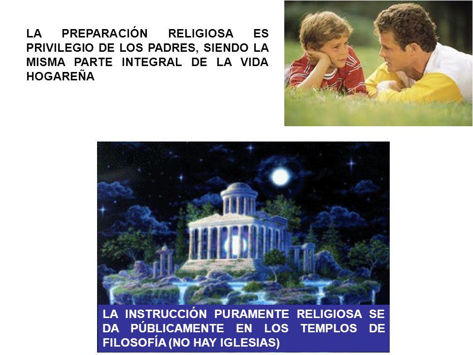 LA PREPARACIÓN RELIGIOSA ES PRIVILEGIO DE LOS PADRES, SIENDO LA MISMA PARTE INTEGRAL DE LA VIDA HOGAREÑA LA INSTRUCCIÓN PURAMENTE RELIGIOSA SE DA PÚBL