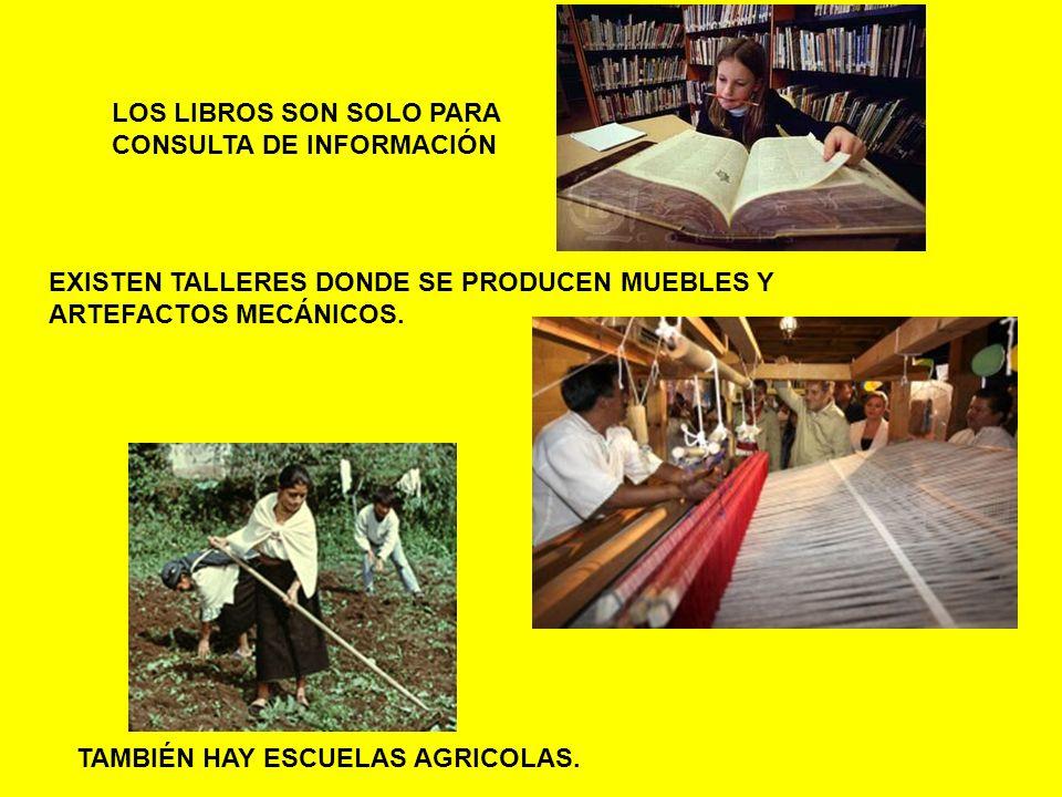 LOS LIBROS SON SOLO PARA CONSULTA DE INFORMACIÓN EXISTEN TALLERES DONDE SE PRODUCEN MUEBLES Y ARTEFACTOS MECÁNICOS. TAMBIÉN HAY ESCUELAS AGRICOLAS.