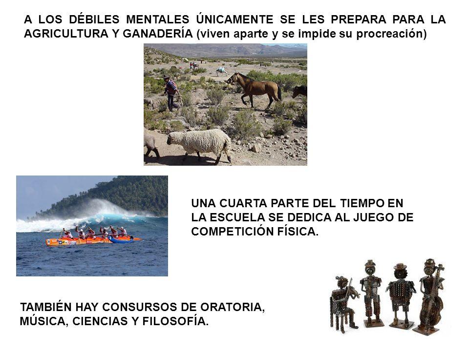 A LOS DÉBILES MENTALES ÚNICAMENTE SE LES PREPARA PARA LA AGRICULTURA Y GANADERÍA (viven aparte y se impide su procreación) UNA CUARTA PARTE DEL TIEMPO