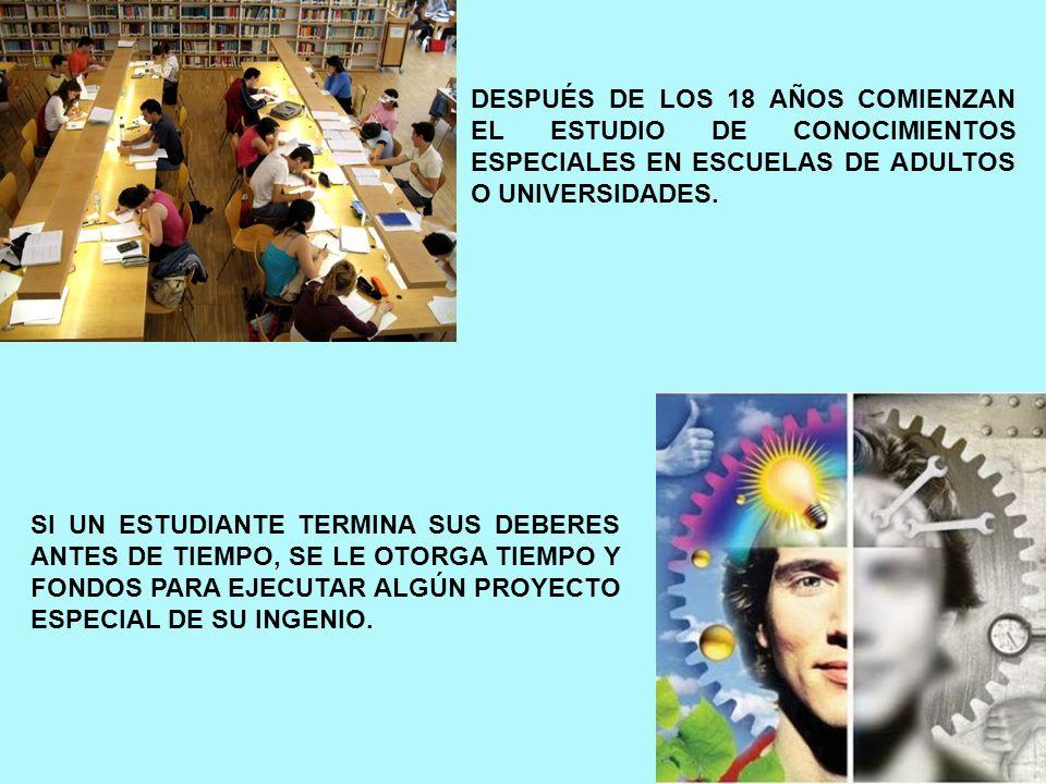 DESPUÉS DE LOS 18 AÑOS COMIENZAN EL ESTUDIO DE CONOCIMIENTOS ESPECIALES EN ESCUELAS DE ADULTOS O UNIVERSIDADES. SI UN ESTUDIANTE TERMINA SUS DEBERES A