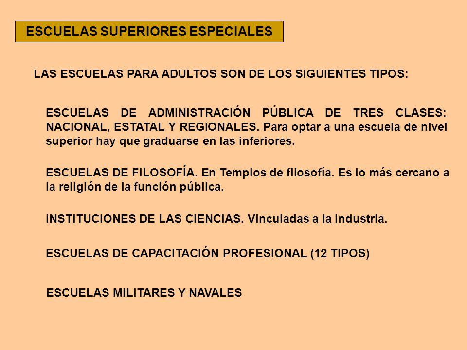 ESCUELAS SUPERIORES ESPECIALES LAS ESCUELAS PARA ADULTOS SON DE LOS SIGUIENTES TIPOS: ESCUELAS DE ADMINISTRACIÓN PÚBLICA DE TRES CLASES: NACIONAL, EST