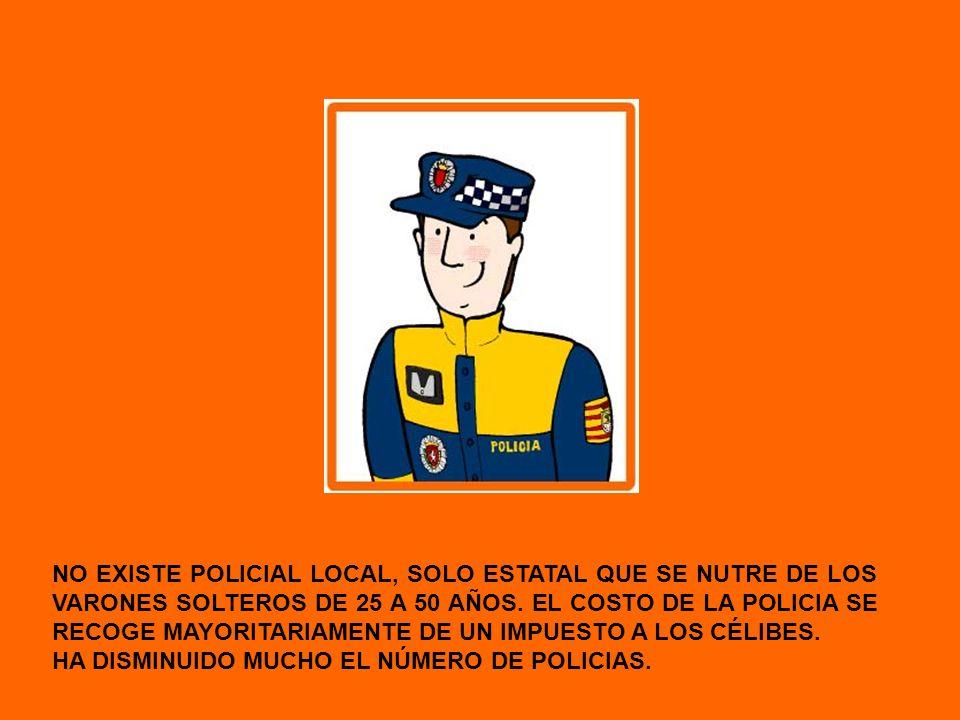 NO EXISTE POLICIAL LOCAL, SOLO ESTATAL QUE SE NUTRE DE LOS VARONES SOLTEROS DE 25 A 50 AÑOS. EL COSTO DE LA POLICIA SE RECOGE MAYORITARIAMENTE DE UN I