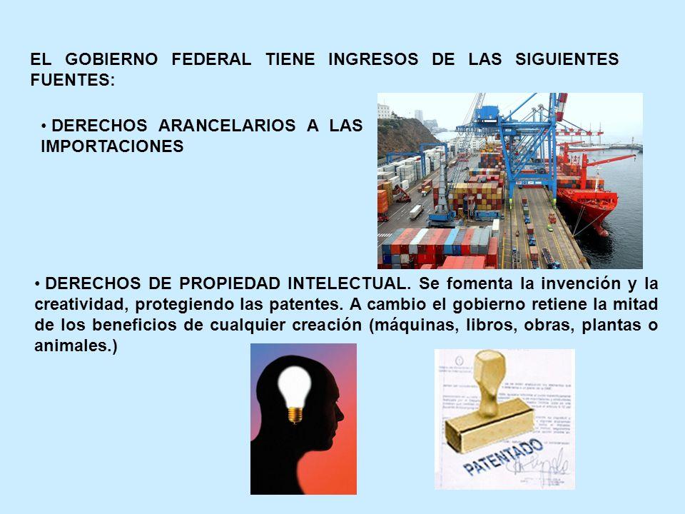 EL GOBIERNO FEDERAL TIENE INGRESOS DE LAS SIGUIENTES FUENTES: DERECHOS ARANCELARIOS A LAS IMPORTACIONES DERECHOS DE PROPIEDAD INTELECTUAL. Se fomenta