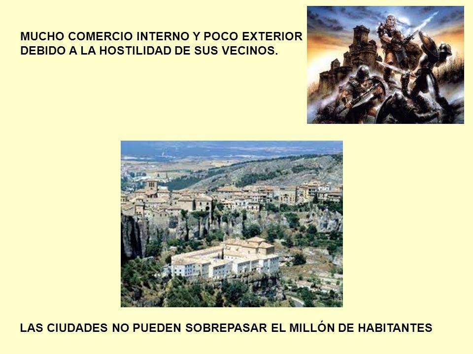 LAS CIUDADES NO PUEDEN SOBREPASAR EL MILLÓN DE HABITANTES MUCHO COMERCIO INTERNO Y POCO EXTERIOR DEBIDO A LA HOSTILIDAD DE SUS VECINOS.