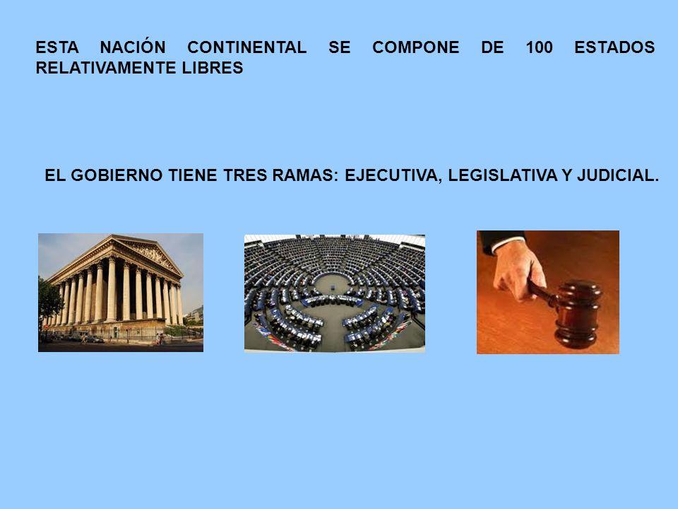 ESTA NACIÓN CONTINENTAL SE COMPONE DE 100 ESTADOS RELATIVAMENTE LIBRES EL GOBIERNO TIENE TRES RAMAS: EJECUTIVA, LEGISLATIVA Y JUDICIAL.