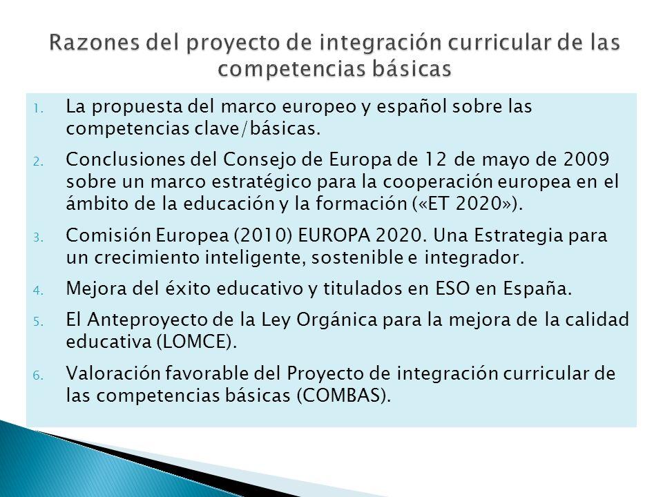 1. La propuesta del marco europeo y español sobre las competencias clave/básicas. 2. Conclusiones del Consejo de Europa de 12 de mayo de 2009 sobre un