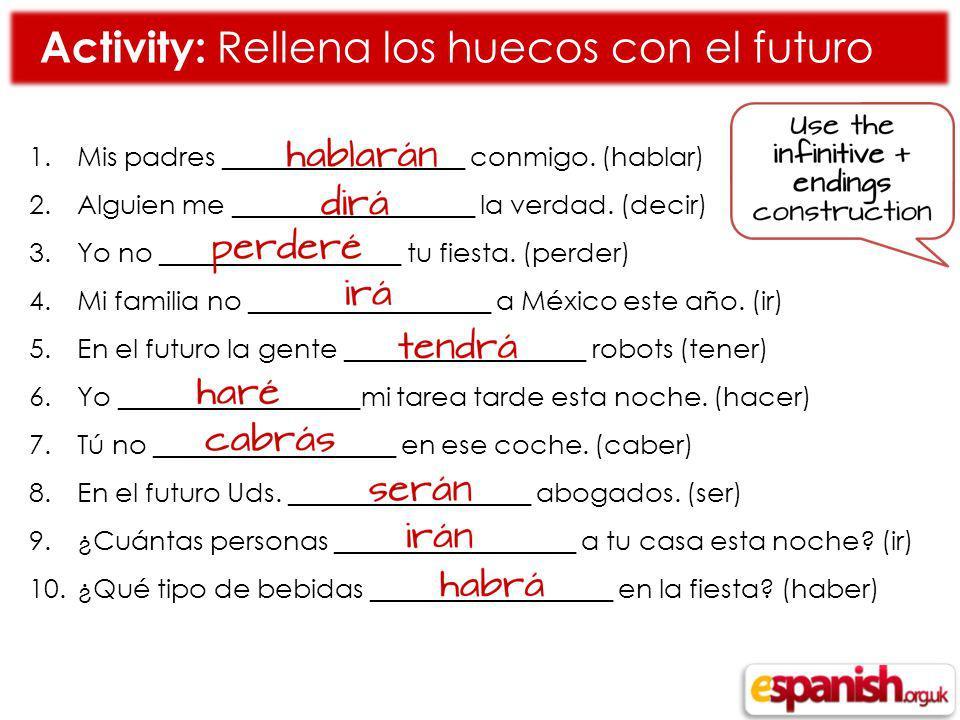 Activity: Rellena los huecos con el futuro 1.Mis padres __________________ conmigo.