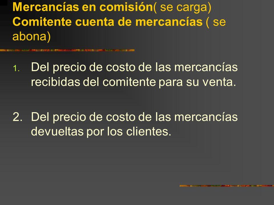 Mercancías en comisión( se carga) Comitente cuenta de mercancías ( se abona) 1.