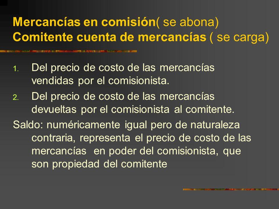 Mercancías en comisión( se abona) Comitente cuenta de mercancías ( se carga) 1.
