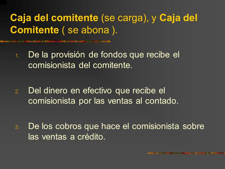 Caja del comitente (se carga), y Caja del Comitente ( se abona ).
