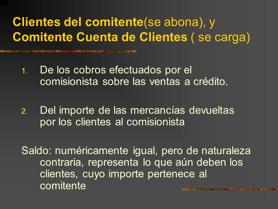 Clientes del comitente(se abona), y Comitente Cuenta de Clientes ( se carga) 1.