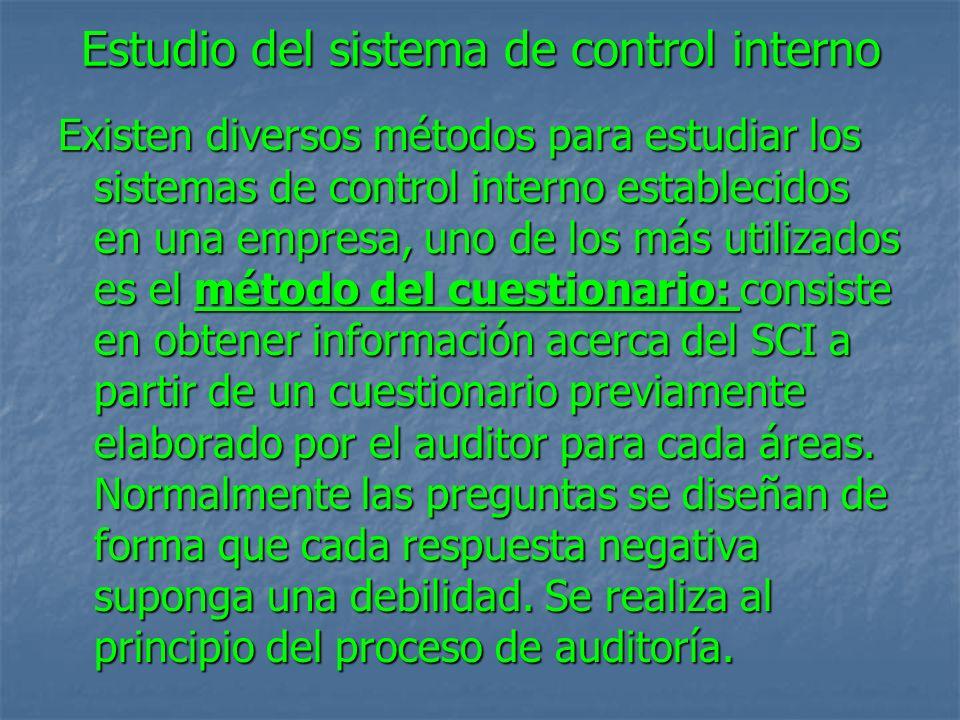 Estudio del sistema de control interno Existen diversos métodos para estudiar los sistemas de control interno establecidos en una empresa, uno de los más utilizados es el método del cuestionario: consiste en obtener información acerca del SCI a partir de un cuestionario previamente elaborado por el auditor para cada áreas.