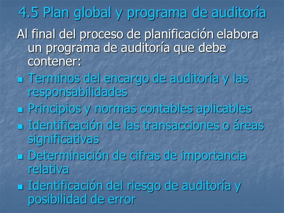 4.5 Plan global y programa de auditoría Al final del proceso de planificación elabora un programa de auditoría que debe contener: Terminos del encargo