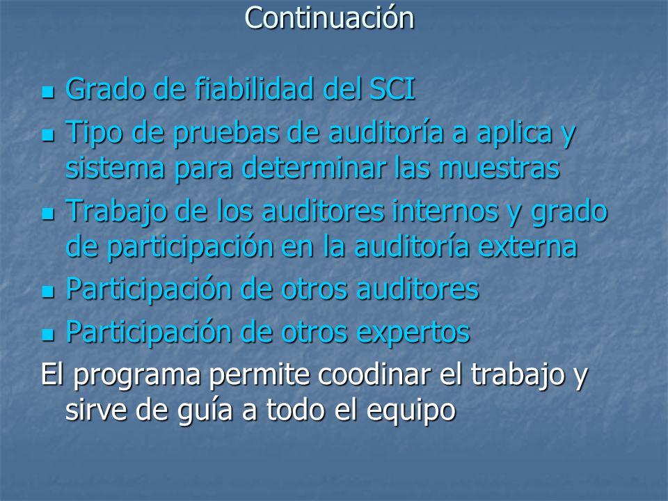 Continuación Grado de fiabilidad del SCI Grado de fiabilidad del SCI Tipo de pruebas de auditoría a aplica y sistema para determinar las muestras Tipo