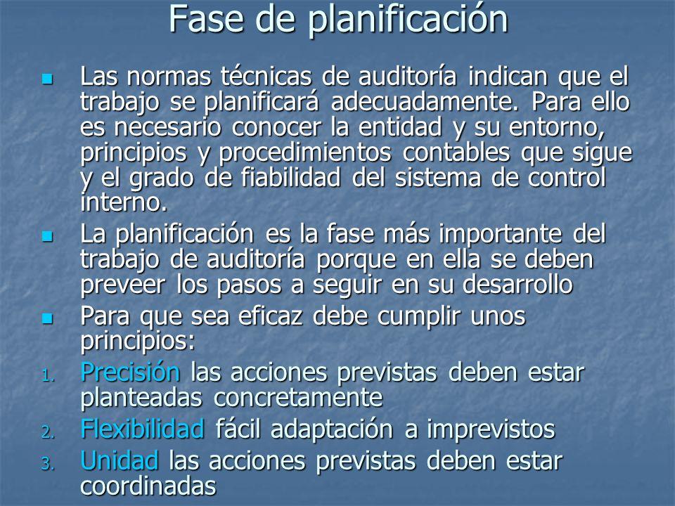 Fase de planificación Las normas técnicas de auditoría indican que el trabajo se planificará adecuadamente.