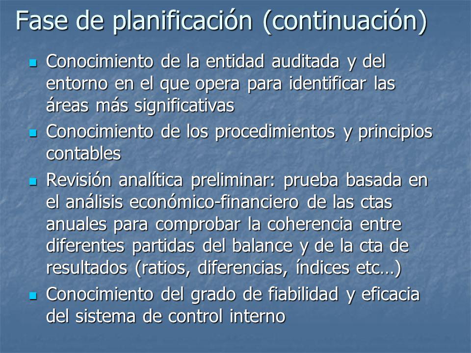 Fase de planificación (continuación) Conocimiento de la entidad auditada y del entorno en el que opera para identificar las áreas más significativas C