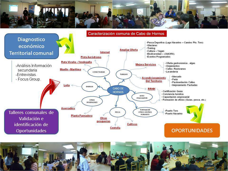 Diagnostico económico Territorial comunal -Análisis Información secundaria -Entrevistas. - Focus Group. Talleres comunales de Validación e identificac