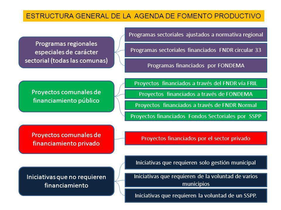 Programas regionales especiales de carácter sectorial (todas las comunas) Proyectos comunales de financiamiento público Proyectos comunales de financi