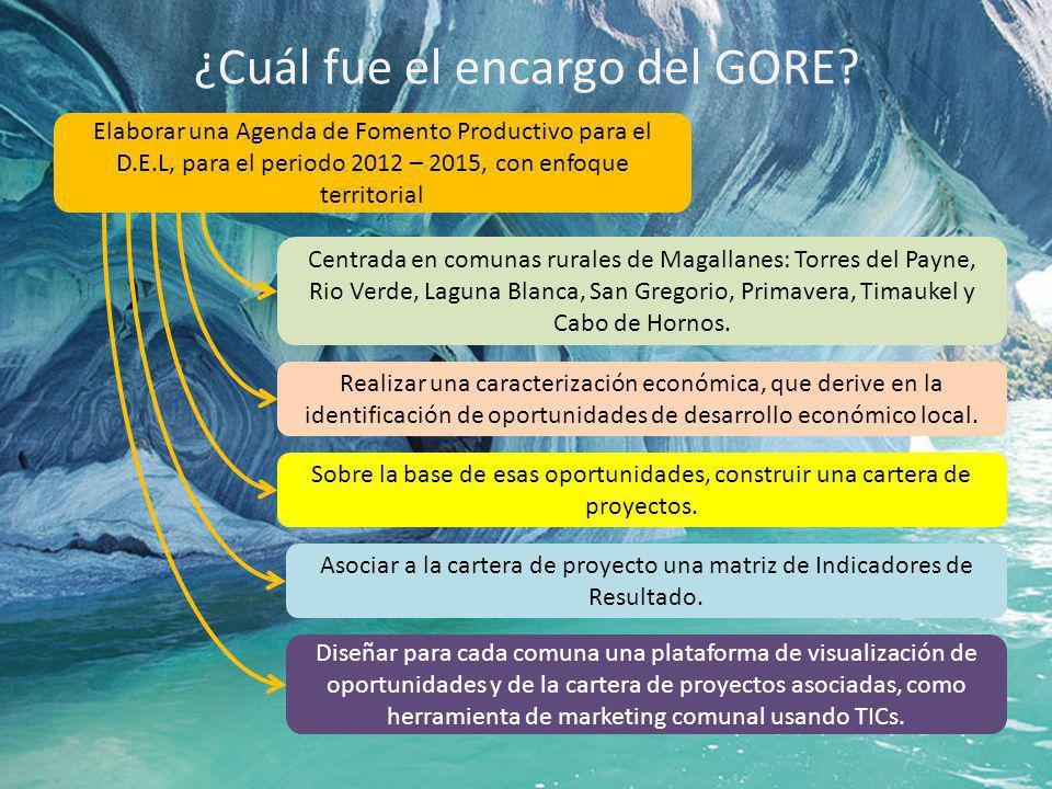 ¿Cuál fue el encargo del GORE? Elaborar una Agenda de Fomento Productivo para el D.E.L, para el periodo 2012 – 2015, con enfoque territorial Centrada