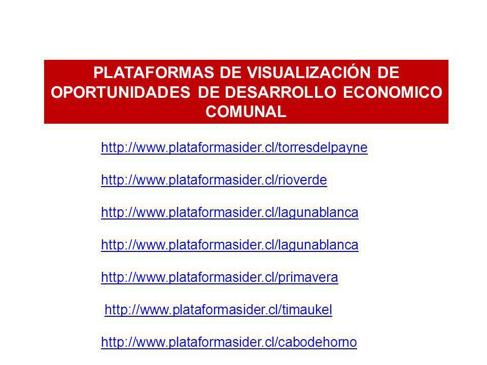 PLATAFORMAS DE VISUALIZACIÓN DE OPORTUNIDADES DE DESARROLLO ECONOMICO COMUNAL http://www.plataformasider.cl/torresdelpayne http://www.plataformasider.