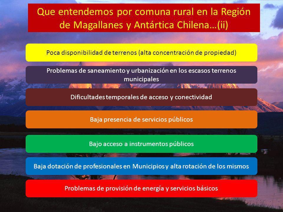 Que entendemos por comuna rural en la Región de Magallanes y Antártica Chilena…(ii) Poca disponibilidad de terrenos (alta concentración de propiedad)