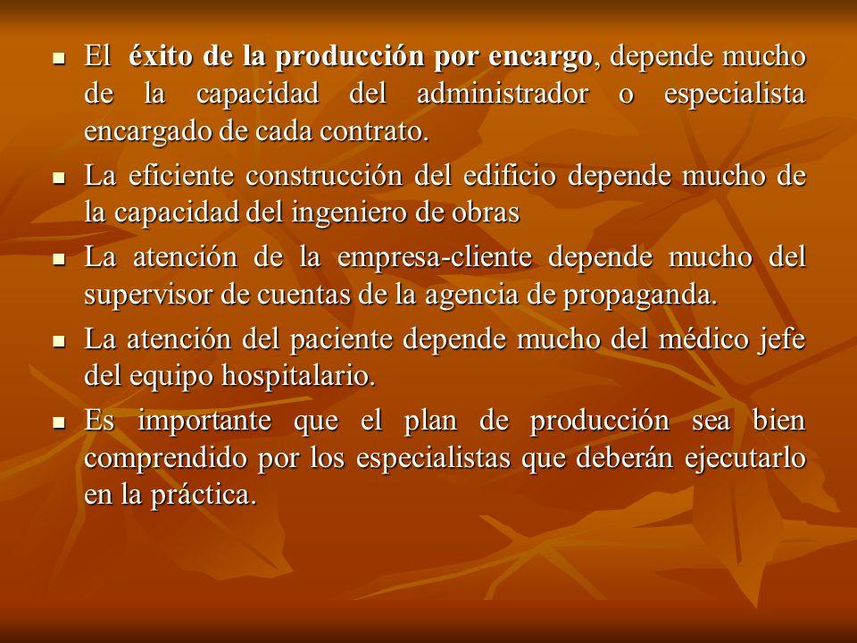 El éxito de la producción por encargo, depende mucho de la capacidad del administrador o especialista encargado de cada contrato. El éxito de la produ