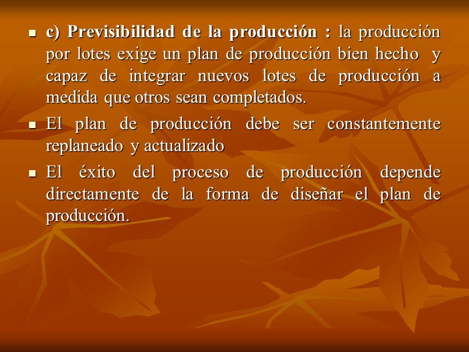 c) Previsibilidad de la producción : la producción por lotes exige un plan de producción bien hecho y capaz de integrar nuevos lotes de producción a m