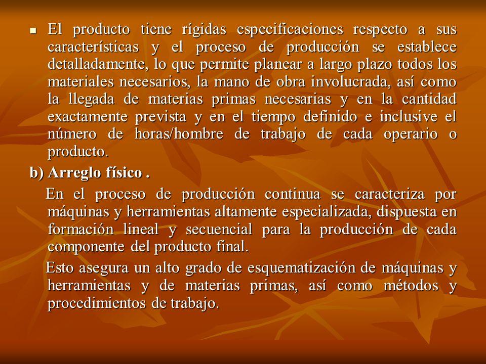 El producto tiene rígidas especificaciones respecto a sus características y el proceso de producción se establece detalladamente, lo que permite plane