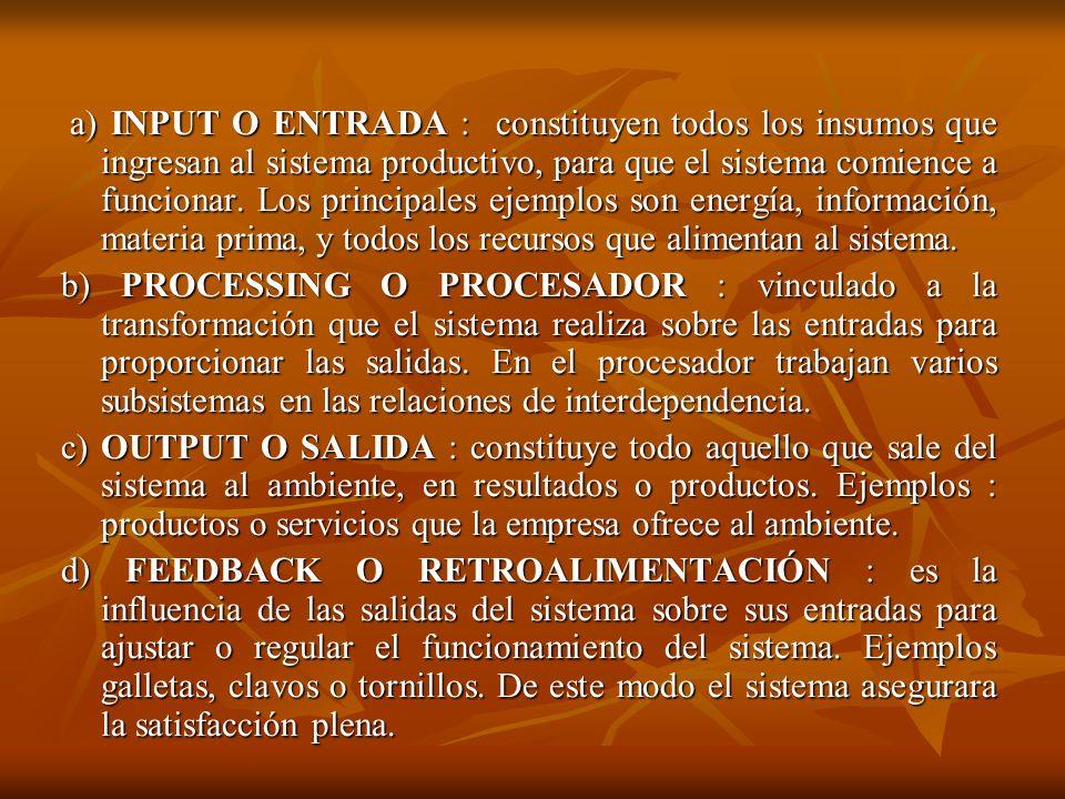 a) INPUT O ENTRADA : constituyen todos los insumos que ingresan al sistema productivo, para que el sistema comience a funcionar. Los principales ejemp