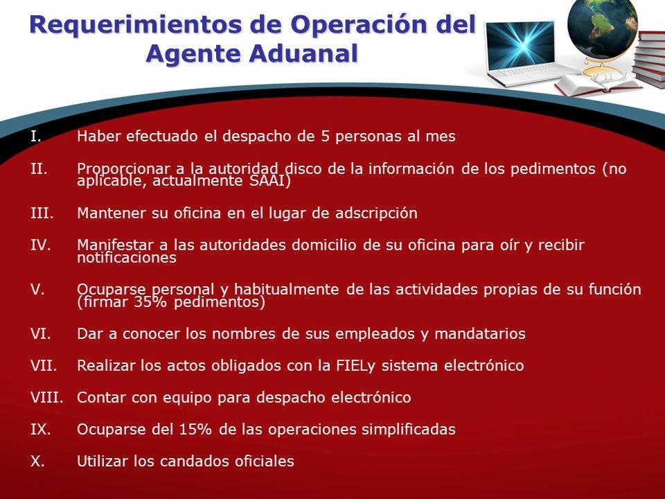 Requerimientos de Operación del Agente Aduanal I.Haber efectuado el despacho de 5 personas al mes II.Proporcionar a la autoridad disco de la informaci