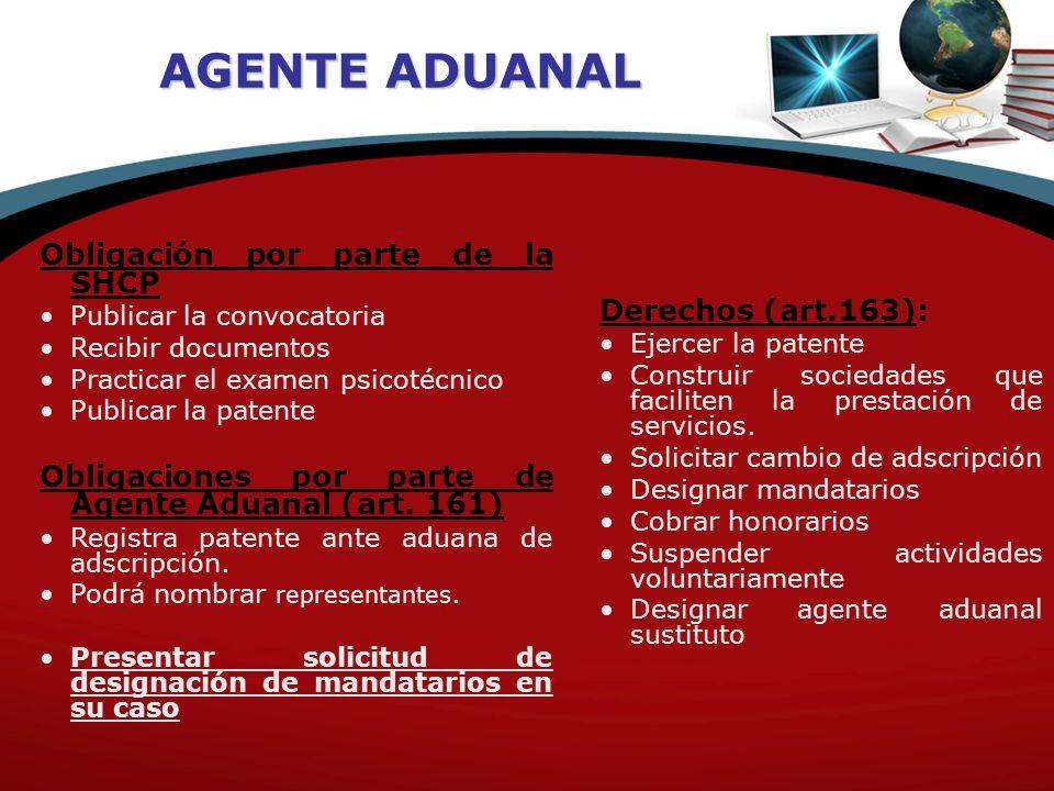 AGENTE ADUANAL Obligaciones (art.