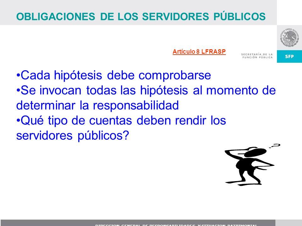 DIRECCION GENERAL DE RESPONSABILIDADES Y SITUACION PATRIMONIAL Artículo 8 LFRASP OBLIGACIONES DE LOS SERVIDORES PÚBLICOS Cada hipótesis debe comprobar