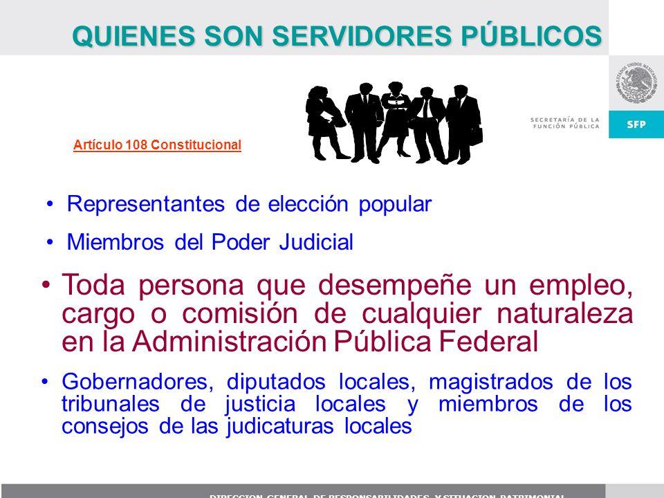 DIRECCION GENERAL DE RESPONSABILIDADES Y SITUACION PATRIMONIAL Gobernadores, diputados locales, magistrados de los tribunales de justicia locales y mi