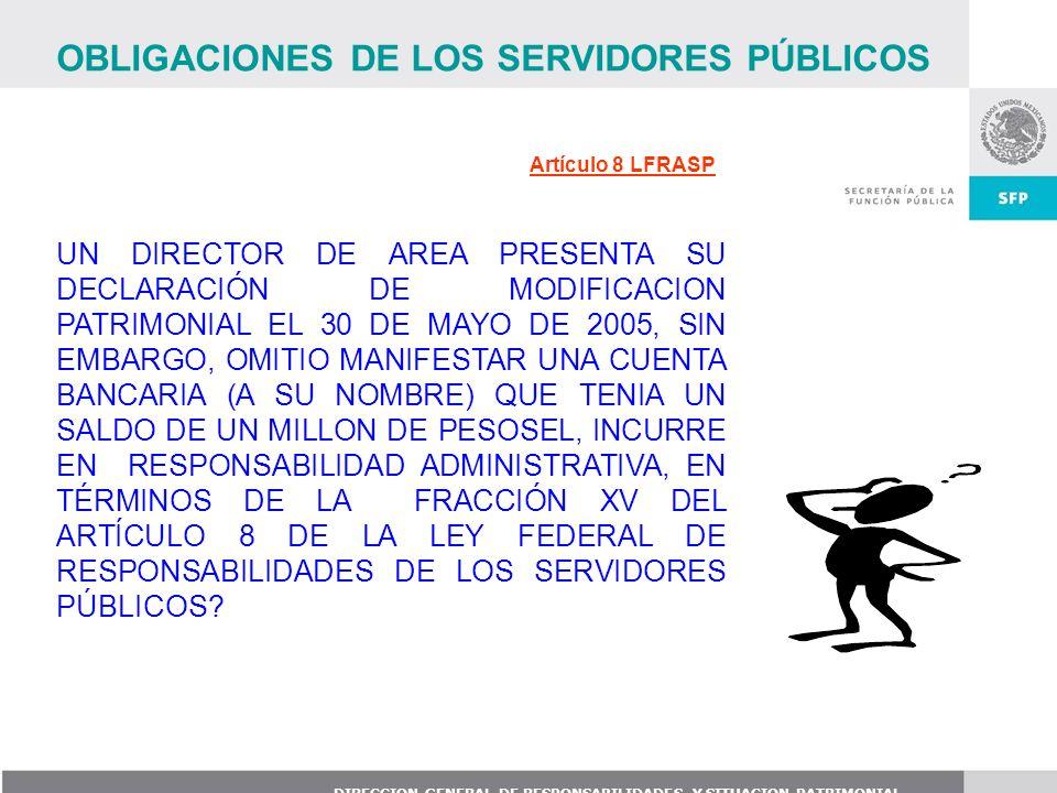 DIRECCION GENERAL DE RESPONSABILIDADES Y SITUACION PATRIMONIAL Artículo 8 LFRASP UN DIRECTOR DE AREA PRESENTA SU DECLARACIÓN DE MODIFICACION PATRIMONI