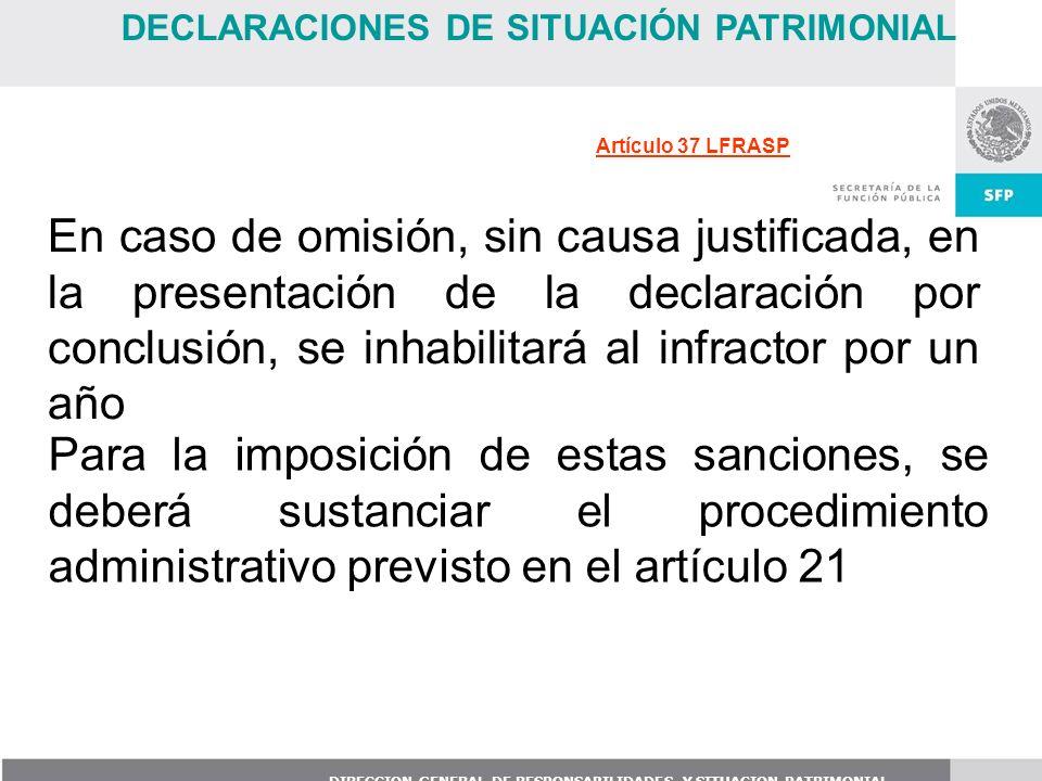 DIRECCION GENERAL DE RESPONSABILIDADES Y SITUACION PATRIMONIAL En caso de omisión, sin causa justificada, en la presentación de la declaración por con