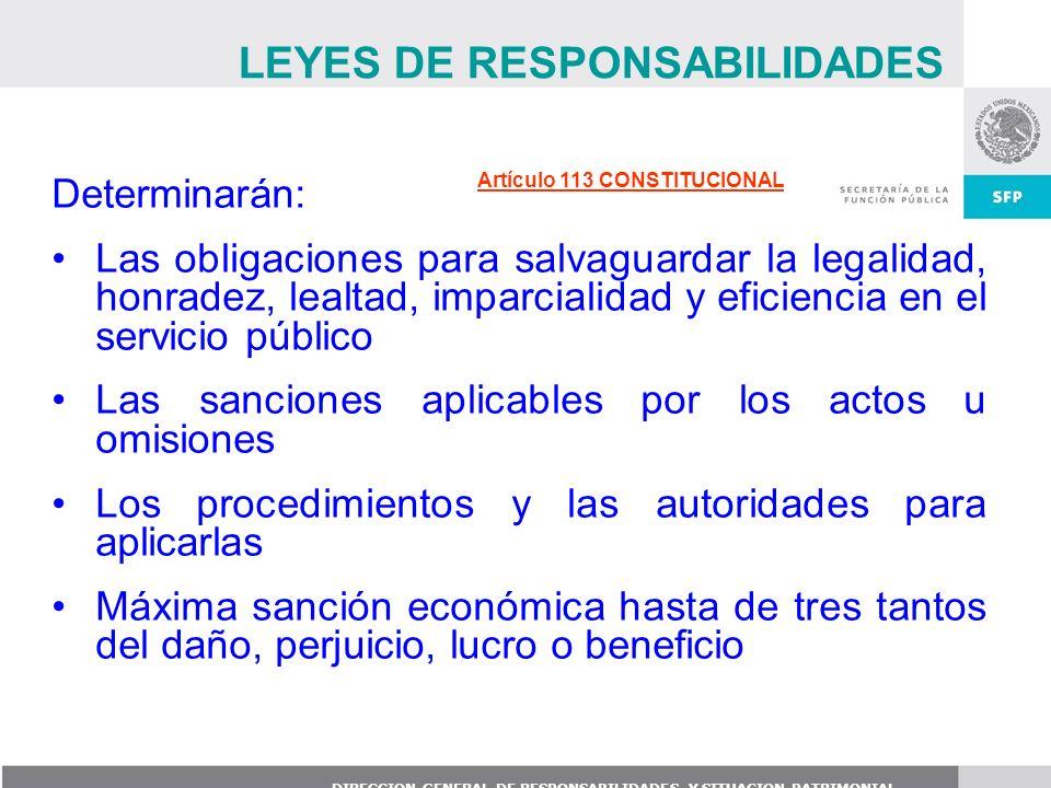 DIRECCION GENERAL DE RESPONSABILIDADES Y SITUACION PATRIMONIAL Determinarán: Las obligaciones para salvaguardar la legalidad, honradez, lealtad, impar