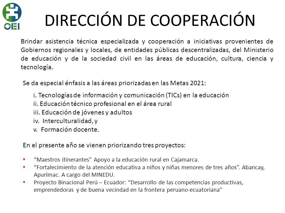 DIRECCIÓN DE COOPERACIÓN Maestros itinerantes Apoyo a la educación rural en Cajamarca. Fortalecimiento de la atención educativa a niños y niñas menore