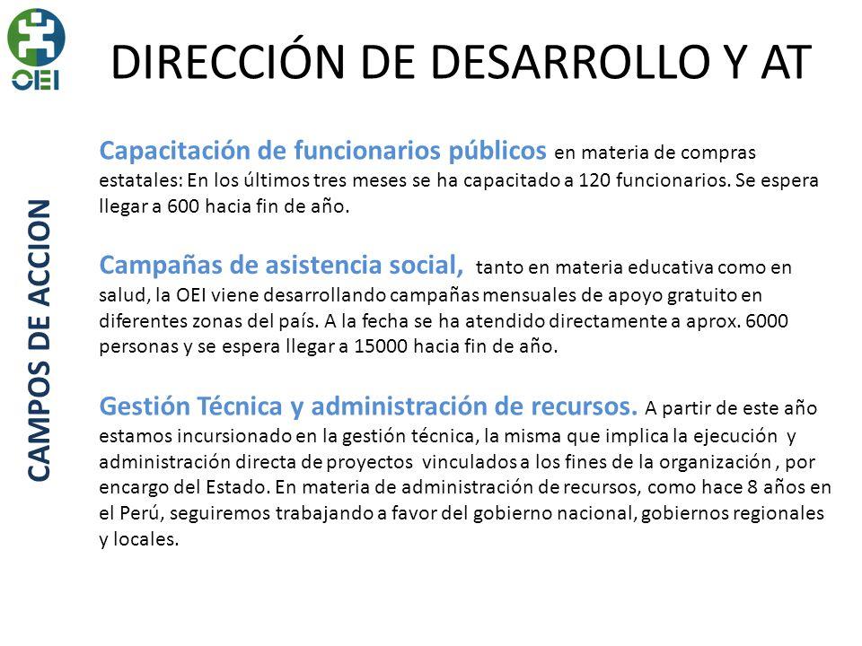 DIRECCIÓN DE DESARROLLO Y AT CAMPOS DE ACCION Capacitación de funcionarios públicos en materia de compras estatales: En los últimos tres meses se ha capacitado a 120 funcionarios.