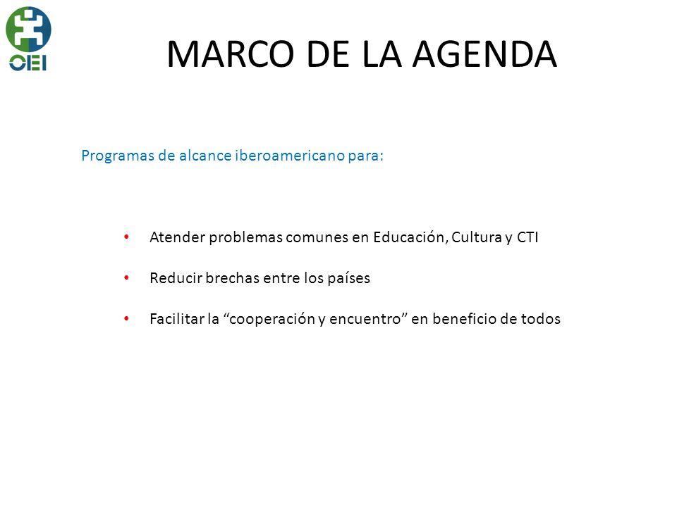 MARCO DE LA AGENDA Programas de alcance iberoamericano para: Atender problemas comunes en Educación, Cultura y CTI Reducir brechas entre los países Fa