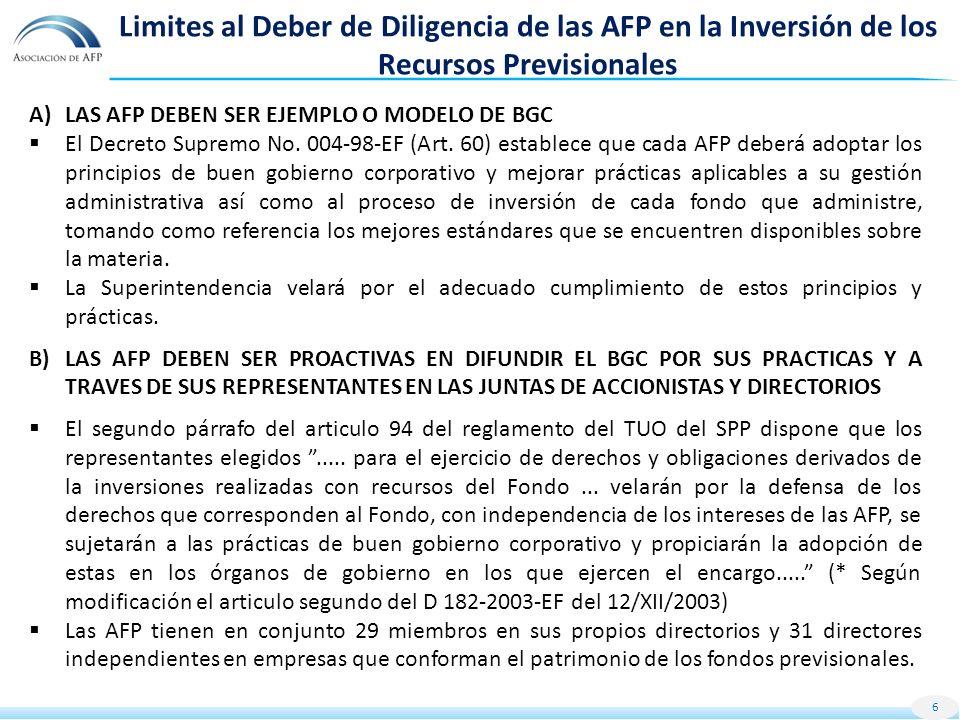 Limites al Deber de Diligencia de las AFP en la Inversión de los Recursos Previsionales A)LAS AFP DEBEN SER EJEMPLO O MODELO DE BGC El Decreto Supremo No.