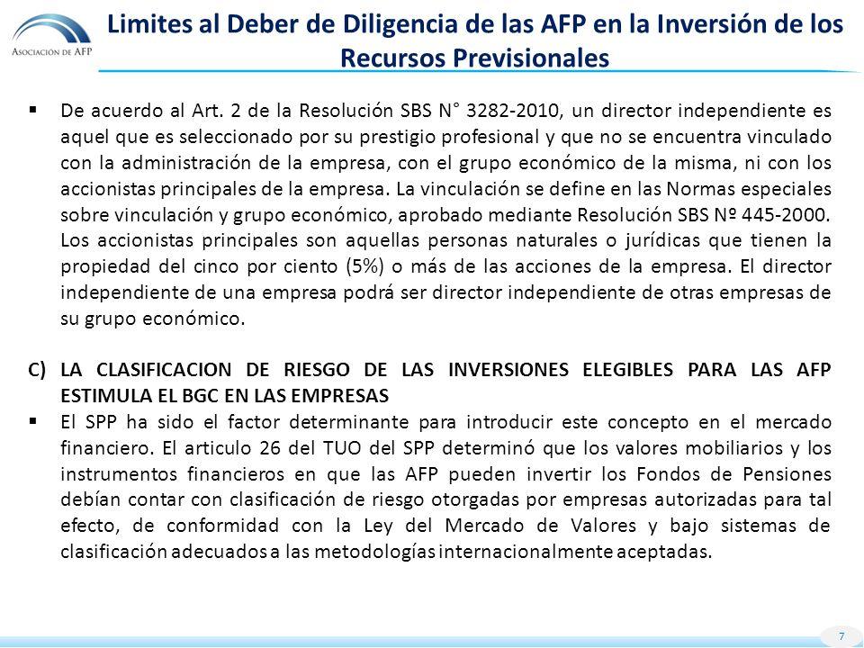 Limites al Deber de Diligencia de las AFP en la Inversión de los Recursos Previsionales De acuerdo al Art.