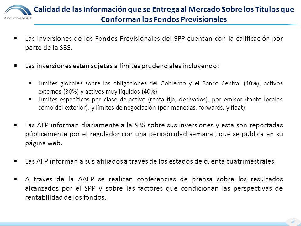 Calidad de las Información que se Entrega al Mercado Sobre los Títulos que Conforman los Fondos Previsionales Las inversiones de los Fondos Previsionales del SPP cuentan con la calificación por parte de la SBS.