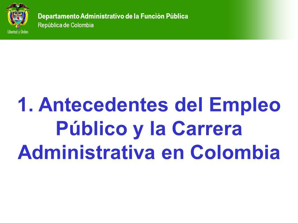 1. Antecedentes del Empleo Público y la Carrera Administrativa en Colombia Departamento Administrativo de la Función Pública República de Colombia Dep