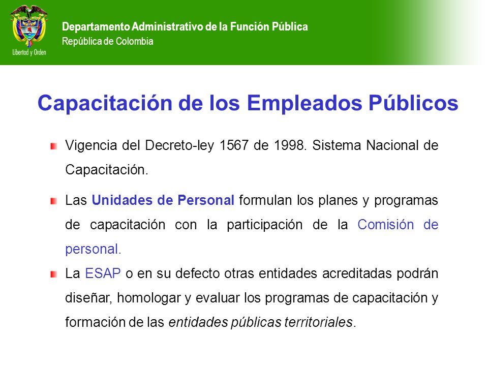 Departamento Administrativo de la Función Pública República de Colombia Capacitación de los Empleados Públicos Vigencia del Decreto-ley 1567 de 1998.