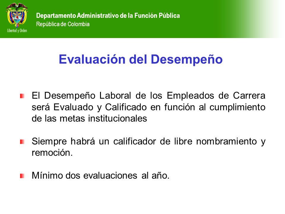 Departamento Administrativo de la Función Pública República de Colombia Evaluación del Desempeño El Desempeño Laboral de los Empleados de Carrera será