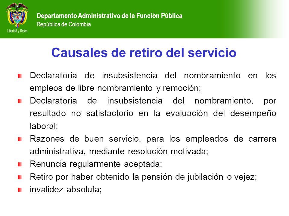 Departamento Administrativo de la Función Pública República de Colombia Causales de retiro del servicio Declaratoria de insubsistencia del nombramient