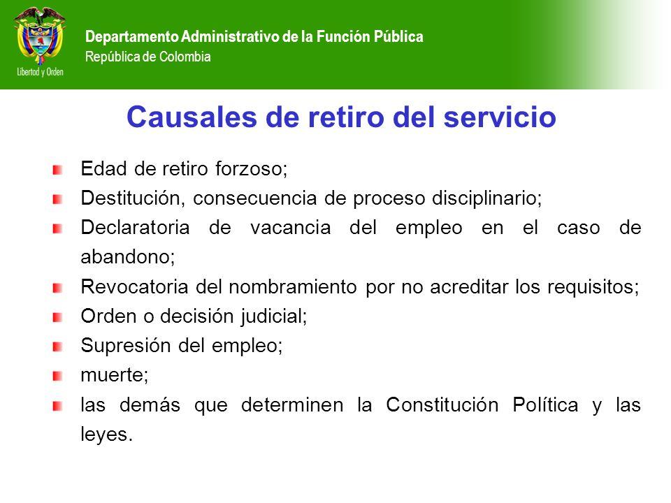 Departamento Administrativo de la Función Pública República de Colombia Causales de retiro del servicio Edad de retiro forzoso; Destitución, consecuen
