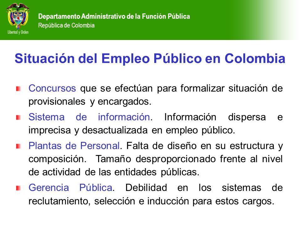 Departamento Administrativo de la Función Pública República de Colombia Concursos que se efectúan para formalizar situación de provisionales y encarga